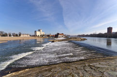 Waterfall on Odra river in Brzeg, Poland Royalty Free Stock Photos