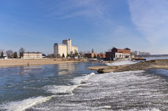 Waterfall on Odra river in Brzeg, Poland Stock Photography