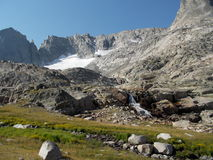 Waterfall off Stroud Glacier. Waterfall draining of Stroud Glacier in the Wind River Range, Wyoming Royalty Free Stock Images