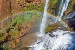 Waterfall. Ouzoud waterfalls located in the Grand Atlas village of Tanaghme with rainbow Stock Photography