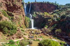 Waterfall. Ouzoud waterfalls located in the Grand Atlas village of Tanaghme with rainbow Royalty Free Stock Photo