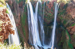 Waterfall. Ouzoud waterfalls located in the Grand Atlas village of Tanaghme with rainbow Stock Images