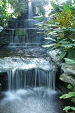 Waterfall over the green rock and garden. Image Royalty Free Stock Photography
