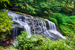 Waterfall over Rock in Forest Stock Photo