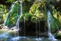 Waterfall, overlooking the Bigar waterfall, Romania stock images