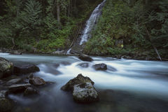 Waterfall Pacific North West Fraser Valley. Silver Creek has heavy volumes of water in the early spring.  Hope, BC, Canada Stock Image