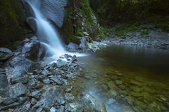 Waterfall Pacific North West Fraser Valley. Silver Creek has heavy volumes of water in the early spring.  Hope, BC, Canada Royalty Free Stock Image