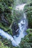 Waterfall Pailon del Diablo in Banos, Eciador Royalty-vrije Stock Afbeelding
