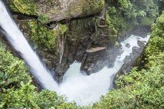 Waterfall Pailon del Diablo in de Andes ecuador Royalty-vrije Stock Afbeeldingen