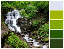 Waterfall with palette color swatches Stock Image