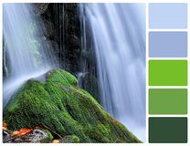 Waterfall with palette color swatches Royalty Free Stock Photos