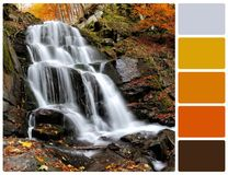 Waterfall with palette color swatches Royalty Free Stock Photo