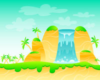 Waterfall. And palm trees. Game Design. Vector illustration Stock Images