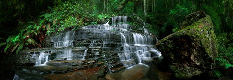 Waterfall Pano. Panoramic Image of Waterfall in the Blue Mountains Stock Photography
