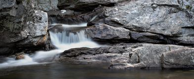 Waterfall Panorama. A small waterfall over rock in panorama format Stock Photo