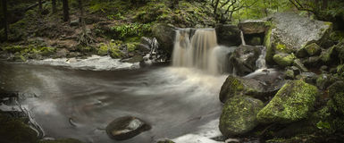 Waterfall Panorama. Padley Gorge in the Peak District National Park Stock Photo