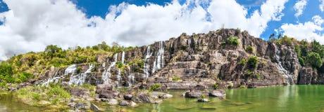 Waterfall panorama. Waterfall in Vietnam. Panorama Royalty Free Stock Photo