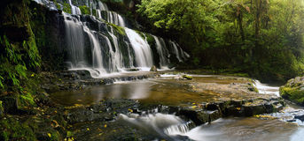 Waterfall Panorama. Purakanai Falls in New Zealand, horizontal panorama royalty free stock photo