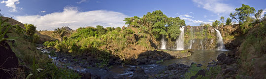 Waterfall panorama. Panorama of waterfall Chute de la Lily, Madagascar Stock Photos