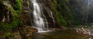 Waterfall panorama. Horizontal Minnamurra waterfall panorama, NSW, Australia. With the female photographer royalty free stock photo