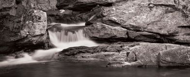 Waterfall Panorama in B&W Stock Photography