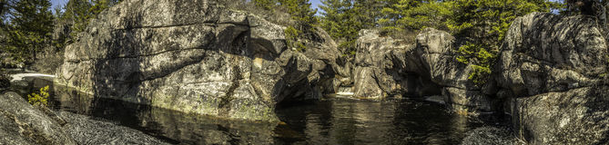 Waterfall Panorama. This is a panorama of a waterfall deep in the woods Stock Photos