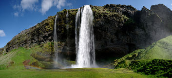 Waterfall Panorama (iceland) Royalty Free Stock Photo