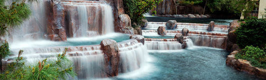 Waterfall Panorama, Las Vegas. Stock Photo