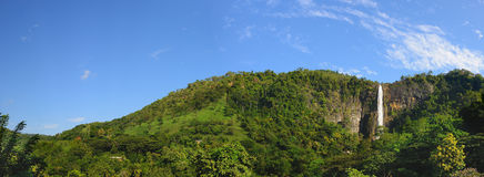 The waterfall panoramic photo Stock Photos