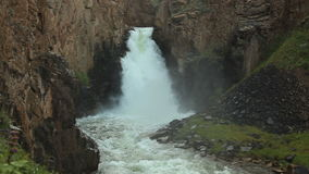 Waterfall `33 parrots`, at the same pass. The height of the waterfall is 30 meters stock video footage