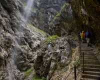 Waterfall in partenkirchen. Hiking through the Bavarian Alps of Southern Germany stock photo