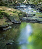 Waterfall and Peaceful Pool. A pure, peaceful, serene babbling brook and waterfall in Hallowell, Maine Stock Images
