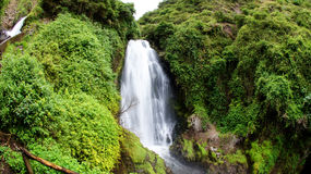 Waterfall Peguche in highlands of Otavalo, Ecuador. Ecological tourism destination Royalty Free Stock Photography