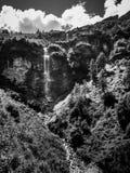 Waterfall in Pennine Alps, Switzerland. Small waterfall near alpine village Zinal in the Val d` Anniviers in the Pennine Alps in the canton Valais, Switzerland stock photos