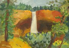 Waterfall. In a pine forest and a childrens work Royalty Free Stock Image