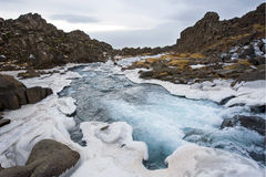 Waterfall in pingvellir valley Royalty Free Stock Photos