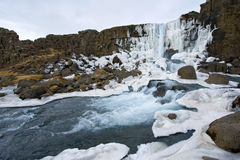Waterfall in pingvellir valley Royalty Free Stock Photo