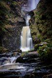 Waterfall Pistyll Rhaeadr in Wales, UK royalty free stock photo