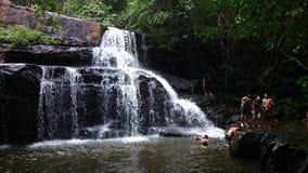 Waterfall. Play swimming nature Thailand royalty free stock image