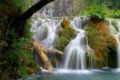 Waterfall at Plitivce Lakes Stock Image
