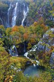 Waterfall in Plitvice. Waterfall on Plitvice lakes i beautiful autumn colors Stock Photography