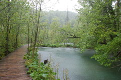 Waterfall by Plitvice Lakes. Croatia in heavy rain Stock Photos