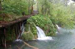 Waterfall by Plitvice Lakes. Croatia in heavy rain Stock Image
