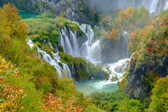 Waterfall the Plitvice Lakes in autumn Stock Image