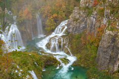 Waterfall the Plitvice Lakes in autumn Royalty Free Stock Photos