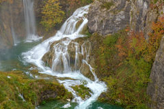 Waterfall the Plitvice Lakes in autumn Royalty Free Stock Images
