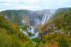 Waterfall the Plitvice Lakes in autumn Stock Photo