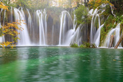 Waterfall the Plitvice Lakes in autumn Royalty Free Stock Image