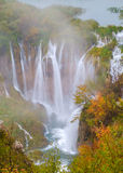 Waterfall the Plitvice Lakes in autumn Royalty Free Stock Photo