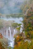 Waterfall the Plitvice Lakes in autumn Stock Images
